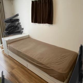 シングルベッド ホワイト フレーム 収納引き出し付き