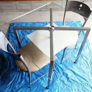 【ネット決済】天面強化ガラス製 ダイニングテーブルセット