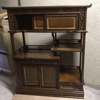 木製 茶箪笥 茶棚 飾り棚 キャビネット 収納棚 レトロ …