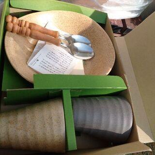 値下げ!間もなく削除!オシャレな深山窯の陶器湯呑·皿、スプーンセット