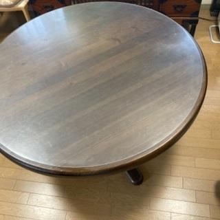 【ネット決済】円卓 ダイニングテーブル 椅子2脚