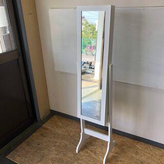 姿見 スタンドミラー 収納 棚 全身 鏡 自立 家具 インテリア