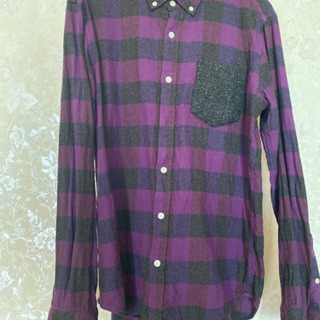 グローバルワーク 紫チェックシャツ