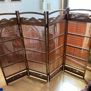 【値下げ】和家具 三つ折り衝立 パーテーション 屏風