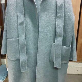 美品 レディース ノーカラー コート グレー サイズ1 丈110...