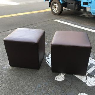 椅子 四角スツール ブラウン 2個セット