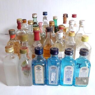 蒸留酒(ジン、ウォッカ、ラム等)の古酒ミニボトルまとめて26本セット 未開栓 AX1 - つくば市