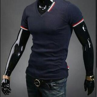 Tシャツ Vネック M XL XXL ストレッチ メンズ …