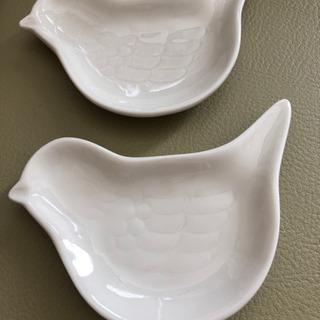 小鳥シリーズ 陶器ペア小鳥皿 ガラス製香水入 陶器アクセサリー皿