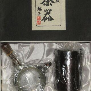 未使用品 銅製 茶器 瑞正 急須 茶筒セット  + 湯呑み12個