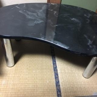 【期間限定値下げ】勾玉形ビーンズローテーブル 黒大理石柄