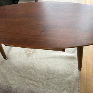 ニトリ 引出し付き楕円形センターテーブル 幅95cm(BR)