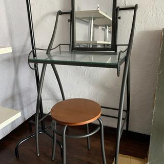 【急募】ドレッサー 鏡台 椅子付き 棚 アンティーク   …