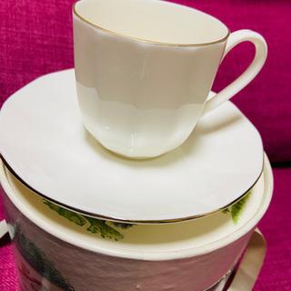 ☕️小さめ白いカップ&ソーサー(2客ペアセット)未使用品