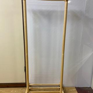 【ネット決済・配送可】0065-stp ハンガーラック 木製 棚...