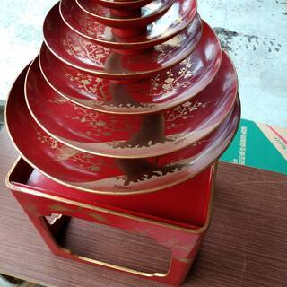 金蒔絵 赤塗り盃皿