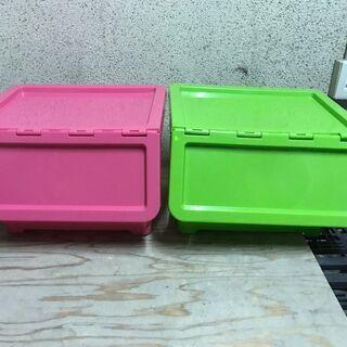 収納ケース 2個セット 小物収納 ボックス ピンク グリーン 幅...