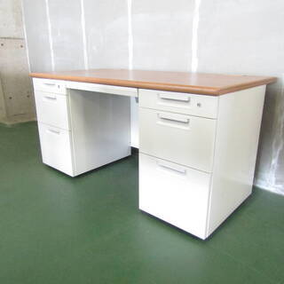 N2378 3段引出付 オフィスデスク 机 平机 テーブル 鍵付...