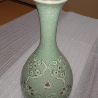 【ネット決済】花瓶 陶器 若草色 青緑