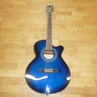 k213☆アコースティックギター☆Sepia Crue☆青☆ケース付き☆良品の画像