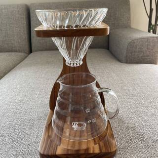 <終了>HARIO V60 ドリップコーヒーキット ガラス製 オリーブウッド デザイン 高品質 おしゃれ インテリアにも最適の画像