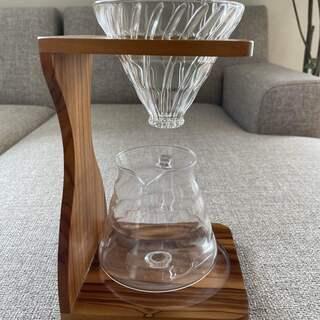 <終了>HARIO V60 ドリップコーヒーキット ガラス製 オリーブウッド デザイン 高品質 おしゃれ インテリアにも最適 - 豊島区