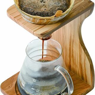 <終了>HARIO V60 ドリップコーヒーキット ガラス製 オリーブウッド デザイン 高品質 おしゃれ インテリアにも最適 - 売ります・あげます
