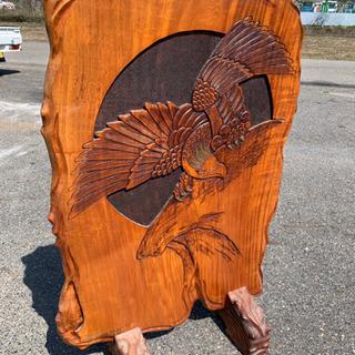 [半額]衝立【鷲・竹林】一刀彫り/大型/木彫り/パーテーション/...