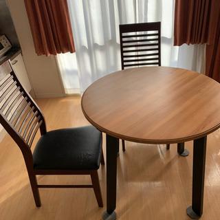 丸テーブル 椅子2脚 セット