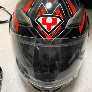 値下げ不可YOHE ヘルメット フルフェイス システムヘルメット 赤×黒 size S 55-56 中古の画像