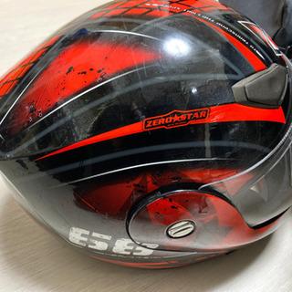 値下げ不可YOHE ヘルメット フルフェイス システムヘルメット 赤×黒 size S 55-56 中古 - バイク