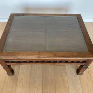 アジアン家具 バンブーガラステーブル