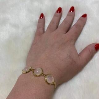 【ネット決済・配送可】ブレスレットバラ石英18金メッキ