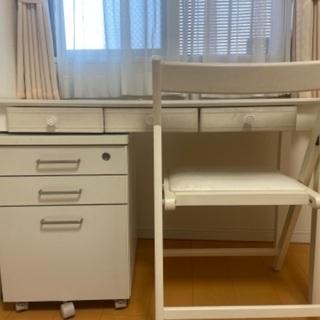 【ネット決済】【4月末まで出品】机、収納、椅子3点セット