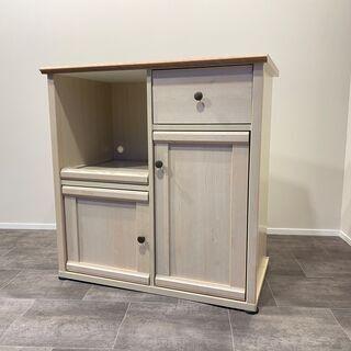 レンジ台 白×茶 収納棚 食器棚 中古品