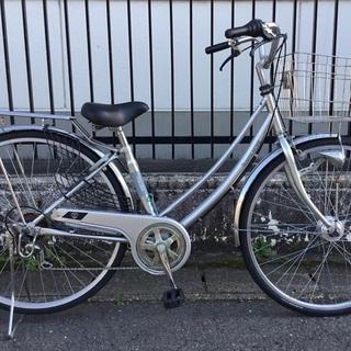 <美品車>27インチ・シティ自転車・シルバー・外装6段変速…
