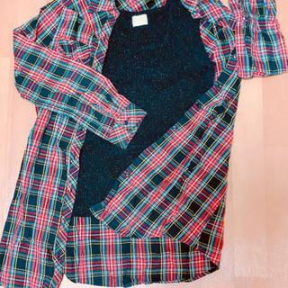 ラメタンクトップ&チェックシャツ どちらも合わせやすい2枚…