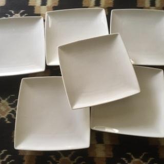 白い角皿 磁器 6枚セット 四角い皿 中古