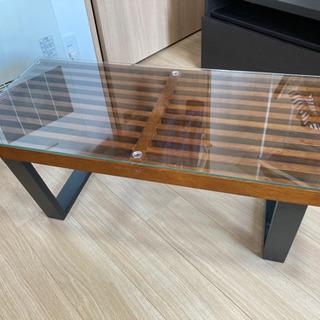 木目ガラス馬天板ローテーブル