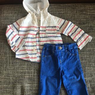 薄手パーカーシャツと2wayズボンセット80〜90
