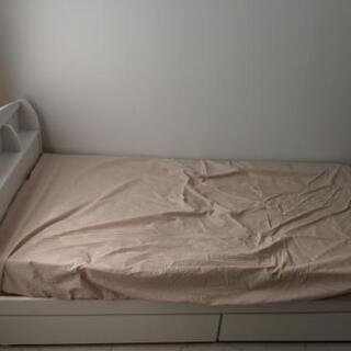 【引取限定】収納付きベッド マットレス付き