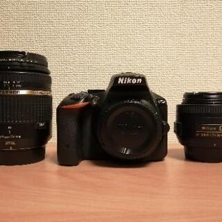 Nikon D5500+単焦点レンズf1.8+ズームレンズ18-...
