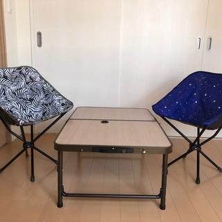 アウトドアテーブル&チェア2脚セット【¥4000】
