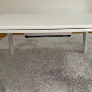 白 鏡面 ローテーブル 家具調 こたつテーブル