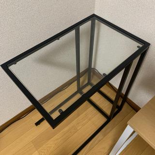 そで机(ガラステーブル)