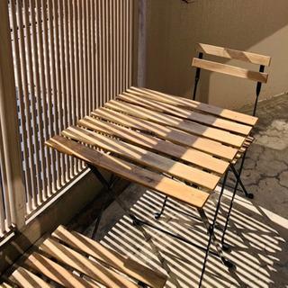 IKEA テーブル&チェア2脚 屋外用, ブラック/ライト…