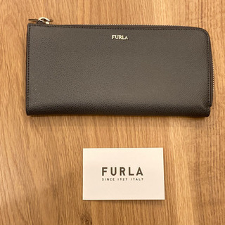 【美品】FURLA メンズ財布 ラウンドファスナー ダークグレー