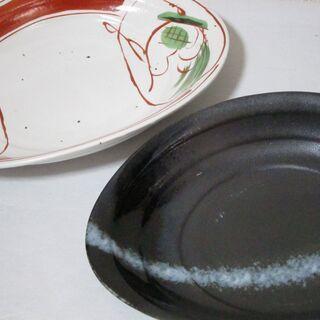 未使用。たわみ組皿揃 2枚 林斎 和食器 陶器 三彩亭 カレー皿...