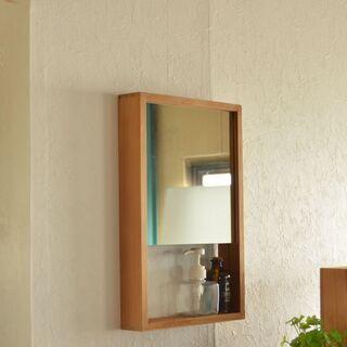 ■壁掛けミラー 天然木x杉 木箱■bbf-0451