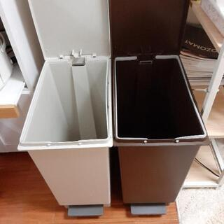 【05/09~のお取引】ニトリ ごみ箱 たっぷり45L(グレーと茶色)